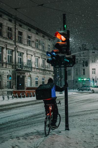 Biking in snowy weather