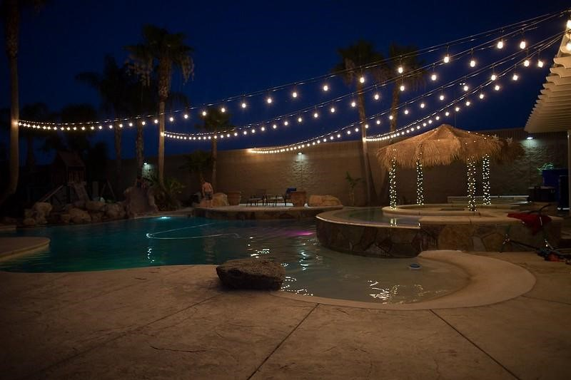 Outdoor String Lights by a pool