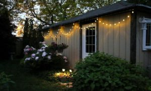 Outdoor string lights on a house